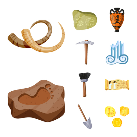 Vector design of archaeology and historical sign. Set of archaeology and excavation vector icon for stock.