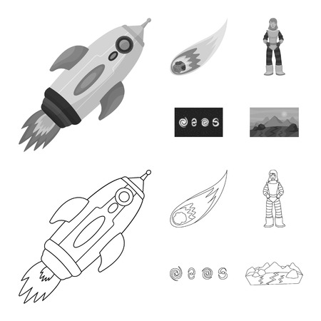Vector illustration of astronomy and technology sign. Set of astronomy and sky vector icon for stock.