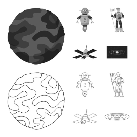 Vector illustration of astronomy and technology icon. Collection of astronomy and sky vector icon for stock.