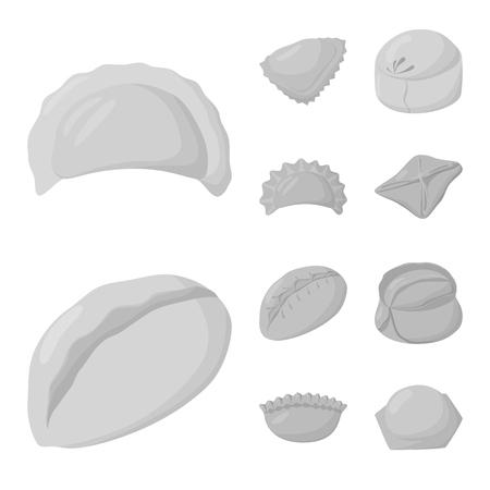 Vector illustration of dumplings and stuffed symbol. Collection of dumplings and dish stock vector illustration.