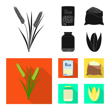 Vector illustration of crop and ecological symbol. Set of crop and cooking stock vector illustration.