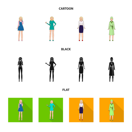 Vector design of posture and mood sign. Set of posture and female stock symbol for web.