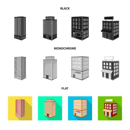 Vector design of construction and building logo. Collection of construction and estate stock symbol for web. Ilustração