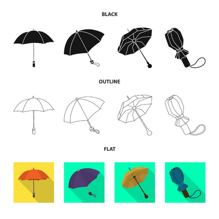 Vector design of protection and closed icon. Collection of protection and rainy stock symbol for web. Çizim