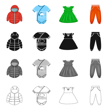 Vector design of fashion and garment logo. Set of fashion and cotton vector icon for stock. Stock Vector - 120442176
