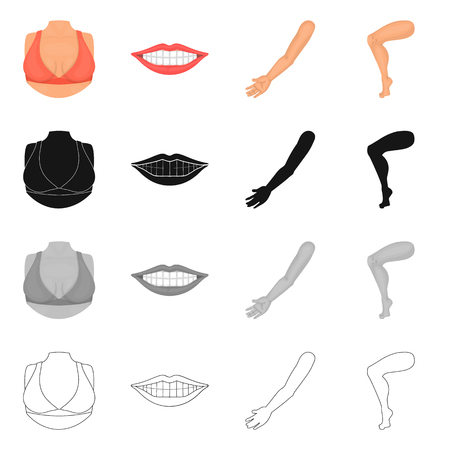 Vector design of body and part sign. Set of body and anatomy vector icon for stock.