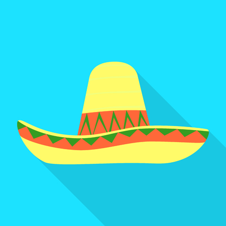 Isolated object of sombrero and mexican icon. Collection of sombrero and hat stock vector illustration.