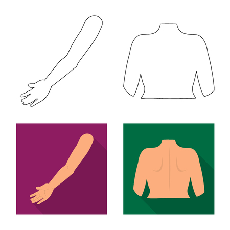 Vector design of body and part sign. Set of body and anatomy vector icon for stock. Banque d'images - 123796047