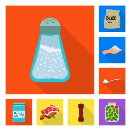 Vector illustration of raw and kitchen icon. Set of raw and sea vector icon for stock.