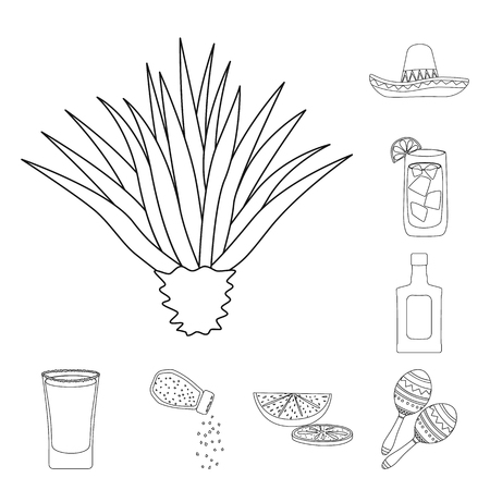 Vector design of Mexico and tequila logo. Set of Mexico and fiesta vector icon for stock.