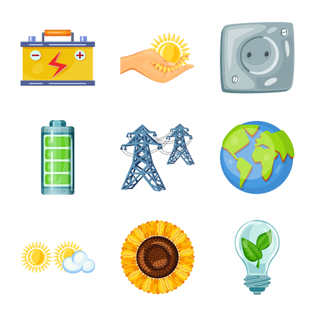 Isolated object of  and organic. Set of  and Solar vector icon for stock.