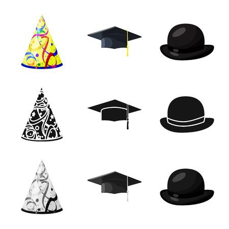 Vector illustration of clothing and cap icon. Set of clothing and beret stock vector illustration. Ilustración de vector