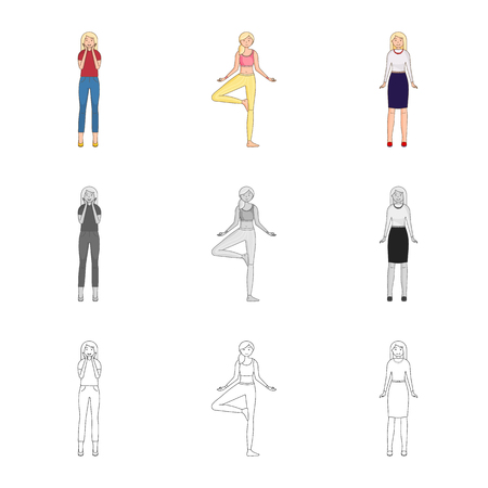 Isolated object of posture and mood sign. Set of posture and female vector icon for stock.