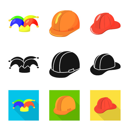 Vector design of clothing and cap logo. Collection of clothing and beret stock symbol for web.