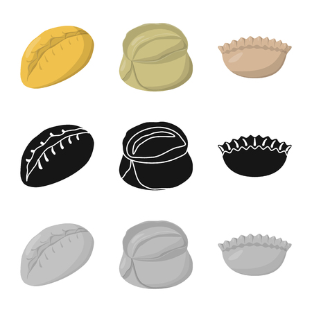 Isolated object of products  and cooking icon. Collection of products  and appetizer stock vector illustration.