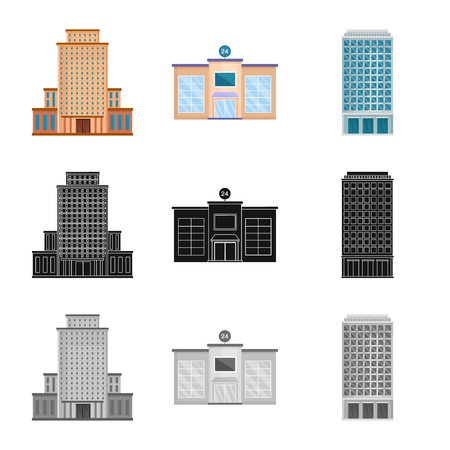 Isolated object of municipal and center. Set of municipal and estate vector icon for stock.