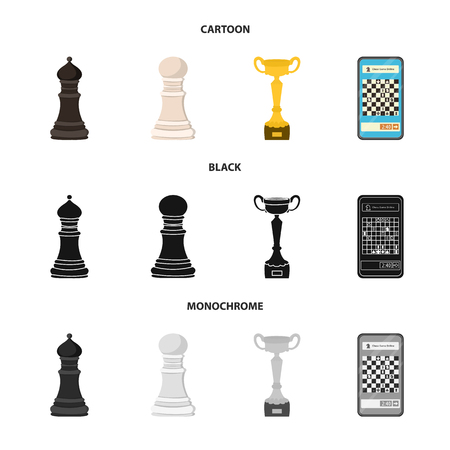 Vector design of checkmate and thin icon. Set of checkmate and target stock symbol for web. Ilustração Vetorial
