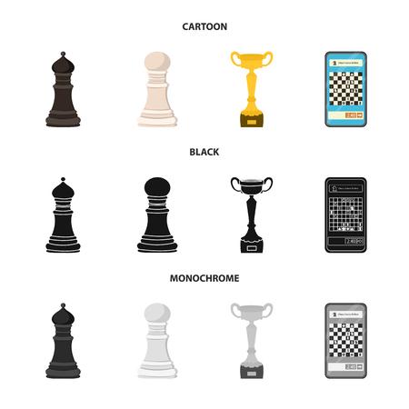Vektordesign von Schachmatt und dünnem Symbol. Set von Schachmatt- und Zielaktiensymbolen für das Web. Vektorgrafik