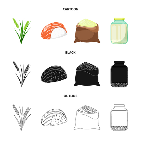 Isolated object of crop and ecological sign. Set of crop and cooking stock vector illustration. Illustration