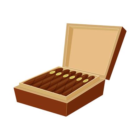 Vektordesign des Zigarren- und Kastenzeichens. Sammlung von Zigarren- und Packungsvektorillustrationen. Vektorgrafik