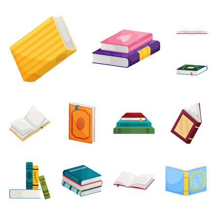 Vektorillustration der Bibliothek und des Buchladens. Sammlung von Bibliotheks- und Literaturvektorsymbolen für Aktien.