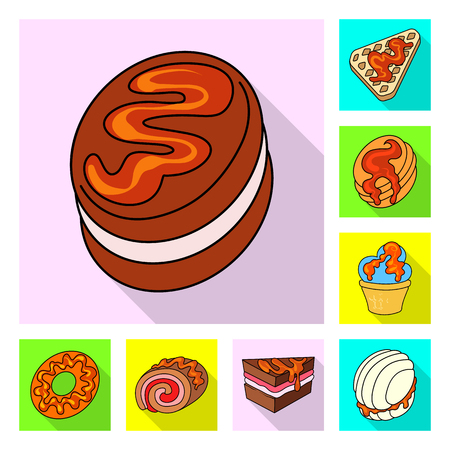 Vector design of confectionery and culinary logo. Collection of confectionery and colorful vector icon for stock.