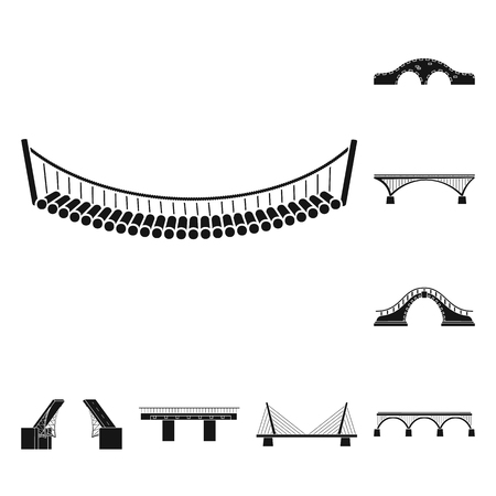 Vector illustration of construct and side sign. Collection of construct and bridge vector icon for stock.