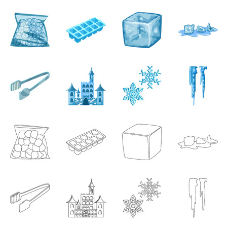 Isolated object of texture  and frozen  symbol. Collection of texture  and transparent  stock symbol for web.