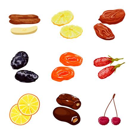 Conception de vecteur de fruits et séchés. Ensemble de symbole boursier de fruits et de nourriture pour le web.