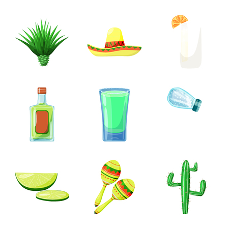 Vector design of Mexico and tequila logo. Set of Mexico and fiesta stock vector illustration.