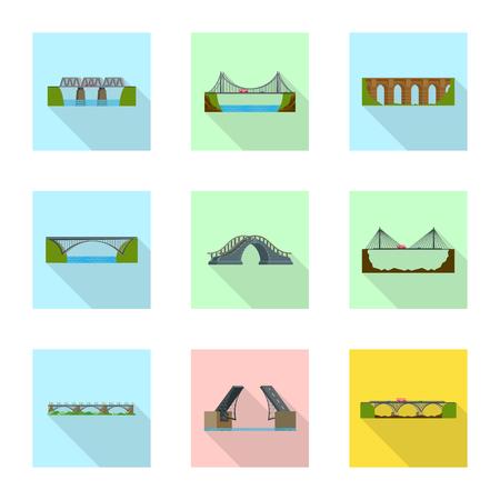 Isolated object of bridgework and bridge icon. Set of bridgework and landmark stock symbol for web.
