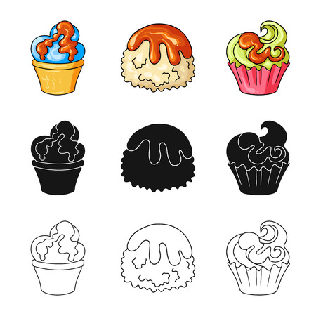 Vector illustration of confectionery and culinary sign. Collection of confectionery and product stock vector illustration.