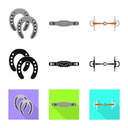 Isolated object of equipment and riding logo. Collection of equipment and competition stock symbol for web. Vettoriali