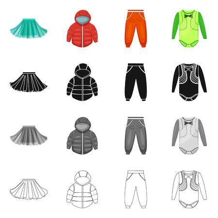 Vektordesign der Mode- und Kleidungsstückikone. Sammlung von Mode- und Baumwollvektorsymbolen für Aktien.