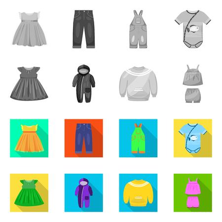 Isoliertes Objekt des Mode- und Kleidungsstücksymbols. Sammlung von Mode- und Baumwollaktiensymbolen für das Web. Vektorgrafik