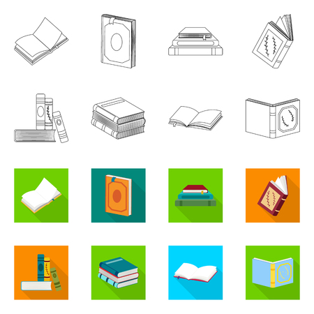 Isolated object of training and cover symbol. Set of training and bookstore  stock vector illustration.