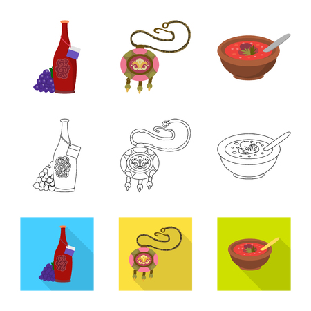Vector illustration of culture and sightseeing. Set of culture and originality stock symbol for web. Illustration