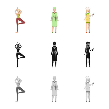 Vector illustration of posture and mood icon. Collection of posture and female vector icon for stock. Vector Illustratie