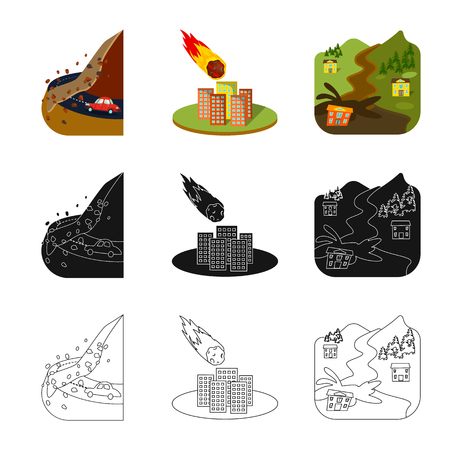 Isolated object of weather and distress. Set of weather and crash vector icon for stock.
