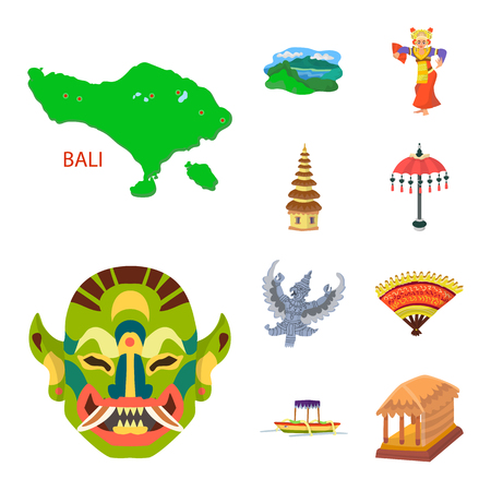 Vector illustration of bali and indonesia symbol. Set of bali and caribbean vector icon for stock.