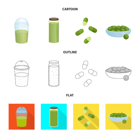 Isolated object of protein and sea sign. Collection of protein and natural stock vector illustration.
