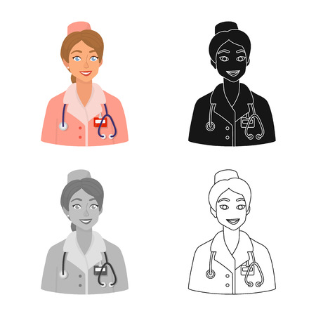 Vector illustration of nurse  and doctor sign. Collection of nurse  and assistant stock vector illustration.