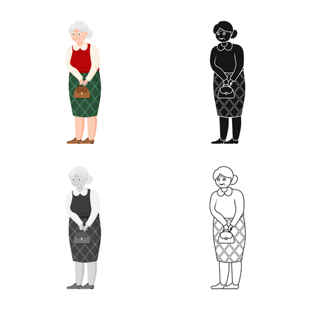 Vector illustration of grandmother  and senior  icon. Set of grandmother  and old stock symbol for web.