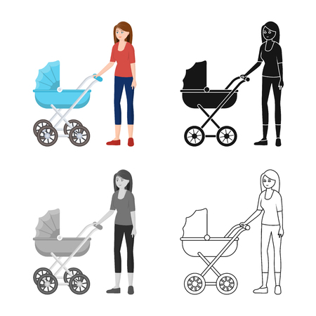 Isolated object of mother  and pram. Collection of mother  and mom vector icon for stock.