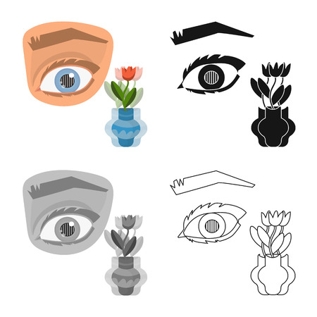 Vector illustration of eye and poor icon. Set of eye and blindness vector icon for stock.