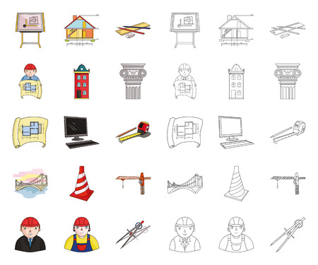 Architecture and construction cartoon,outline icons in set collection for design. Architect and equipment vector symbol stock web illustration.