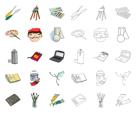 Painter and drawing cartoon,outline icons in set collection for design. Artistic accessories vector symbol stock web illustration.