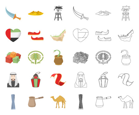 Country United Arab Emirates cartoon,outline icons in set collection for design. Tourism and attraction vector symbol stock web illustration. Illustration