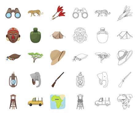 African Safari cartoon,outline icons in set collection for design. Trophies and equipment for Safari vector symbol stock web illustration.