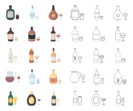 Types of alcohol cartoon,outline icons in set collection for design. Alcohol in bottles vector symbol stock web illustration.